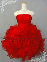Mini dress party dress organza ruffle soft Cute!-★ back lace-up mind-less 5-51076 red No. 7 / 7-9 / 9-11 ★ (red)