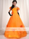 Size order off shoulder ★ organdy colored racesless ★ A-line ★( orange) tb308