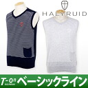 ハリールイド / ハリールイドペンシルボーダー pattern V neck cotton knit best HALYRUID ハリールイド / golf wear