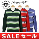 Jaggy / jaggy golf / sweater long sleeves V neck sweater argyle pattern jacquard texture Jaggy Golf jaggy golf golf wear
