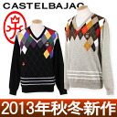 Castelbajac and Castel バジャック sports / sweater V neck Argyle check pattern multi color /CASTELBAJAC SPORTS カステルバジャックスポーツゴルフウェア