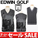 Edwin / Edwin Golf / best knit vest V neck best free goddess Holy Grail motif EDWIN GOLF Edwin ゴルフゴルフウェア