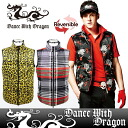 Dance with dragon / dance with dragon /DWD/ best down vest reversible tartan checked pattern Panther studs pattern lip dragon pattern DANCE WITH DRAGON dance with dragon golf wear