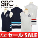 Saint Christopher / cent Christopher / best V neck knit best Stai Risch design emblem motif St.Christopher cent Christopher golf wear