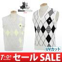 Black & white/black & white/vest V neck knit best UV cut Argyle style check pattern refreshing Trad Black &White Black & White golfwear