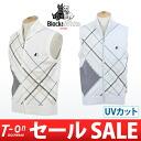 Black & white/black & white/vest knit vest zip up best UV cut check pattern design refreshing Trad Black &White Black & White golfwear