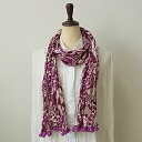 ] Pom-PON two-tone floral-purple-pink-crinkle cotton scarf ★