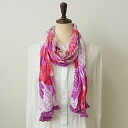 Pom Pom with floral-pink and orange-crinkle cotton scarf ★