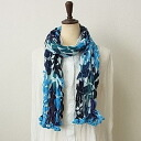 White petiole with pom poms-pink & blue-crinkle cotton scarf ★