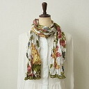Is accompanied plonk; cloth of white background Rose pattern - pink gray ... クリンクルコットンストール★