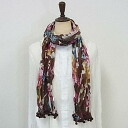 Pom Pom with classic floral-Brown-crinkle cotton scarf ★
