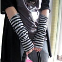 Thin stripe pattern knit ★ arm warmer SALE price