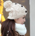★It is 付 ★ knit hat the low gauge knitting with the button plonk