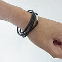 Three real leather knitting bracelet leather wristbands