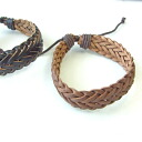 Encrusted leather braided design brass mens bracelet