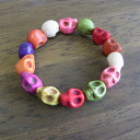 Colorful scull charm skeleton bracelet wristband