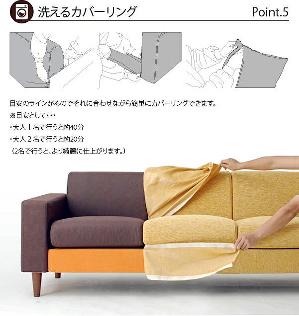 洗えるカバーリングソファー