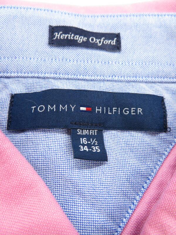 【TOMMY HILFIGER】【トップス】トミーヒルフィガー『ボタンダウン長袖シャツ size34-35』メンズ 1週間保証【中古】