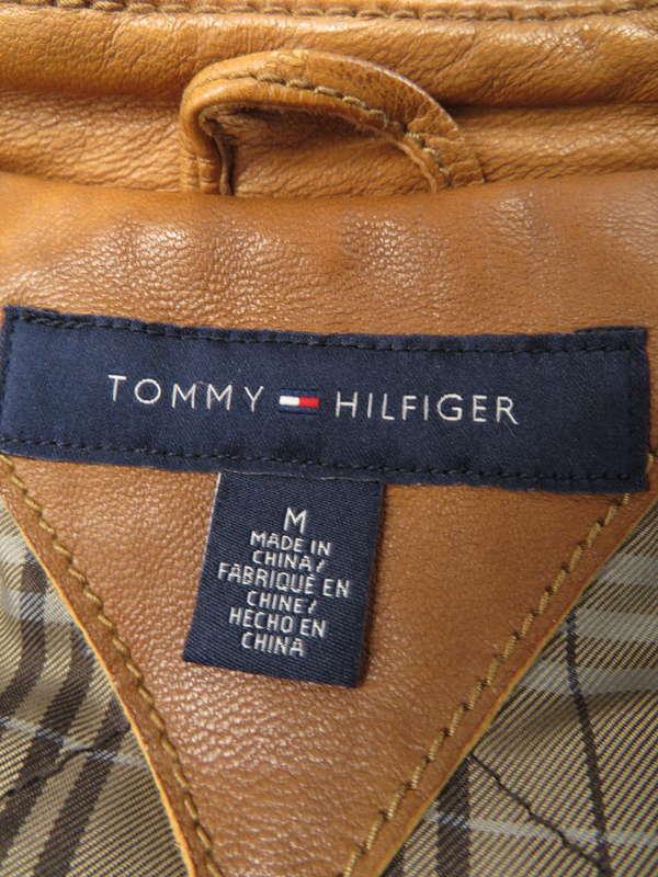 【TOMMY HILFIGER】【アウター】トミーヒルフィガー『レザージャケット sizeM』メンズ 1週間保証【中古】