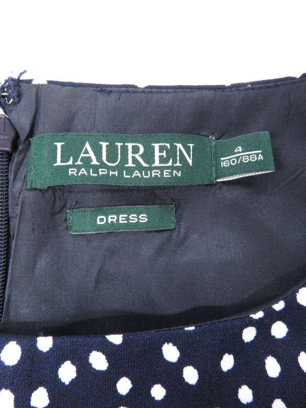 【Ralph Lauren】ラルフローレン『ドット柄ノースリーブワンピース size4』レディース ドレス 1週間保証【中古】
