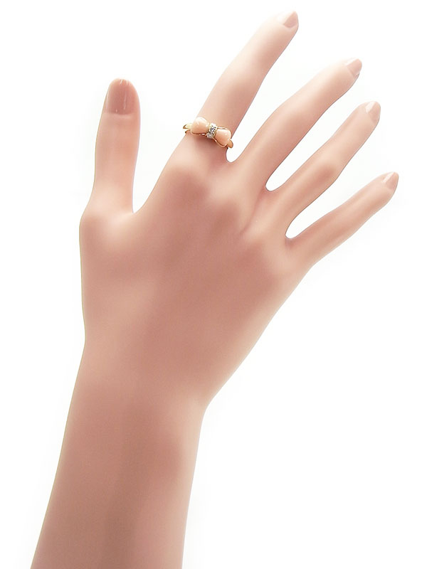 【VCA】【仕上済】ヴァンクリーフ&アーペル『K18YGリング サンゴ ダイヤモンド リボンモチーフ』12.5号 1週間保証【中古】