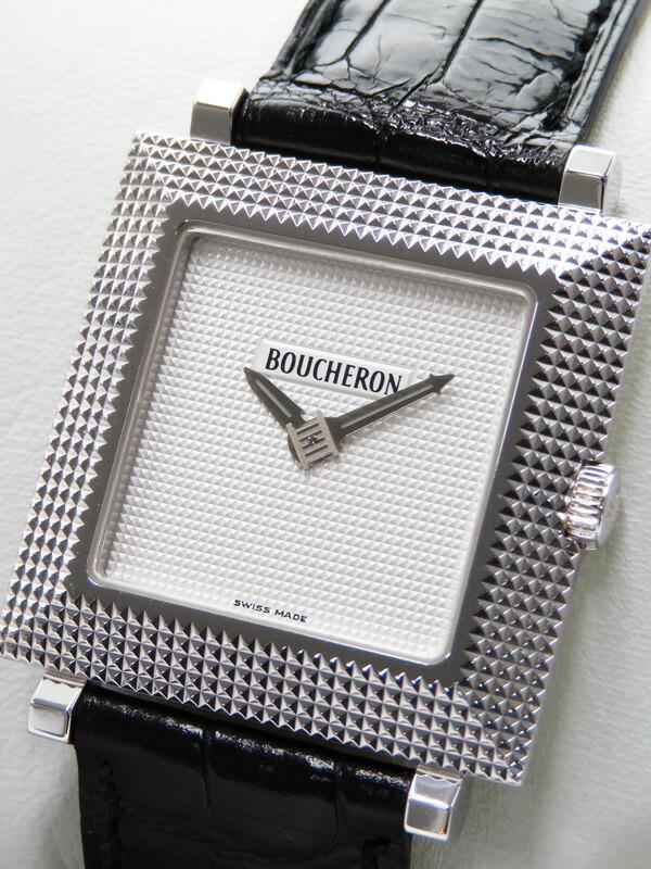 【BOUCHERON】【電池交換済】【WGケース】ブシュロン『スクエア ウォッチ』メンズ クォーツ 1ヶ月保証【中古】
