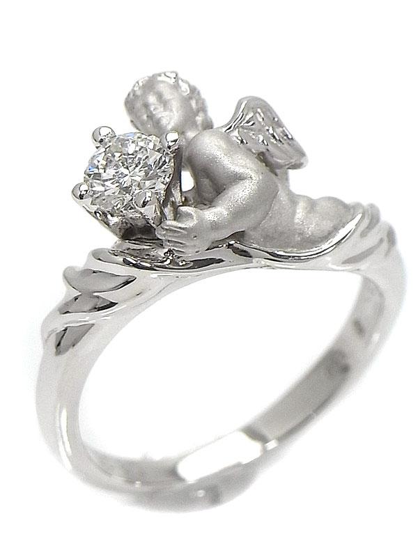 【Carrera y Carrera】【仕上済】カレライカレラ『ダイヤモンドを持つ天使 モチーフ リング』9号 1週間保証【中古】
