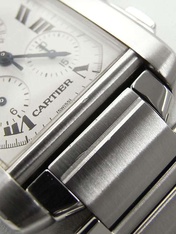 【CARTIER】【電池交換済】カルティエ『タンクフランセーズLM クロノリフレックス』W51001Q3 メンズ クォーツ 3ヶ月保証【中古】