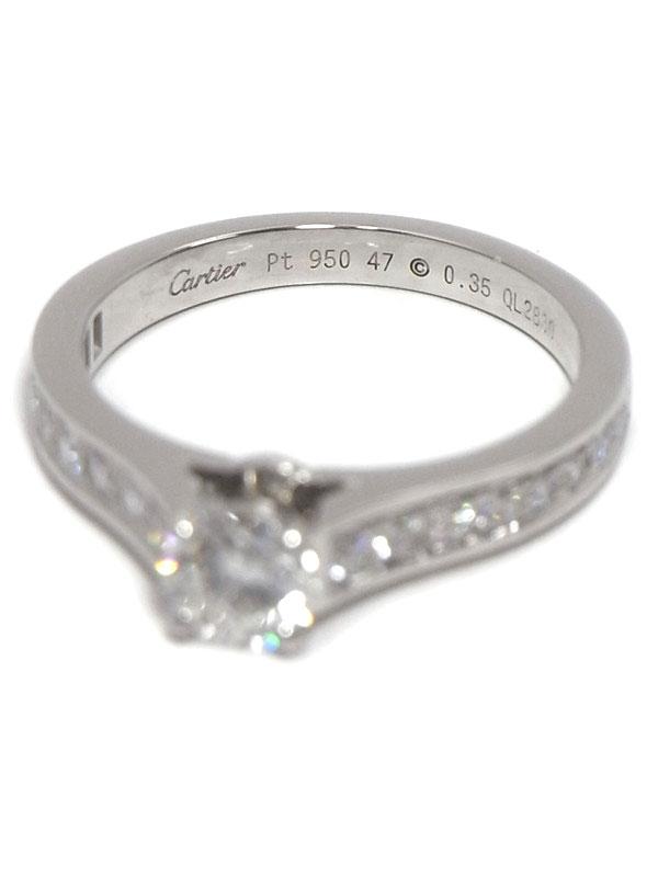 【Cartier】【鑑定書】カルティエ『ソリテール ダイヤ 0.35ct/E/VS-1/EXCELLENT リング』7号 1週間保証【中古】