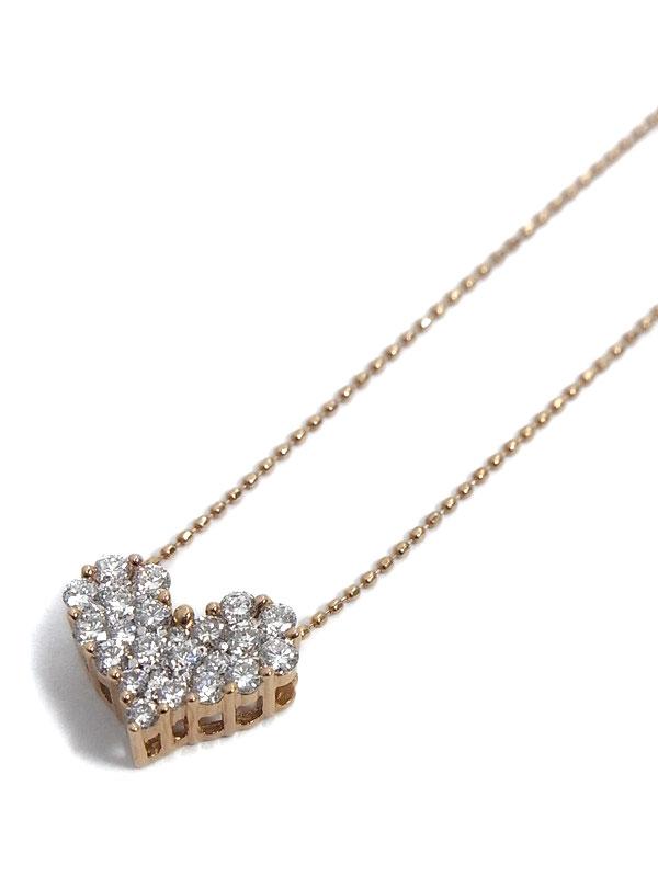 セレクトジュエリー『K18PGネックレス ダイヤモンド0.50ct パヴェハートモチーフ』1週間保証【中古】
