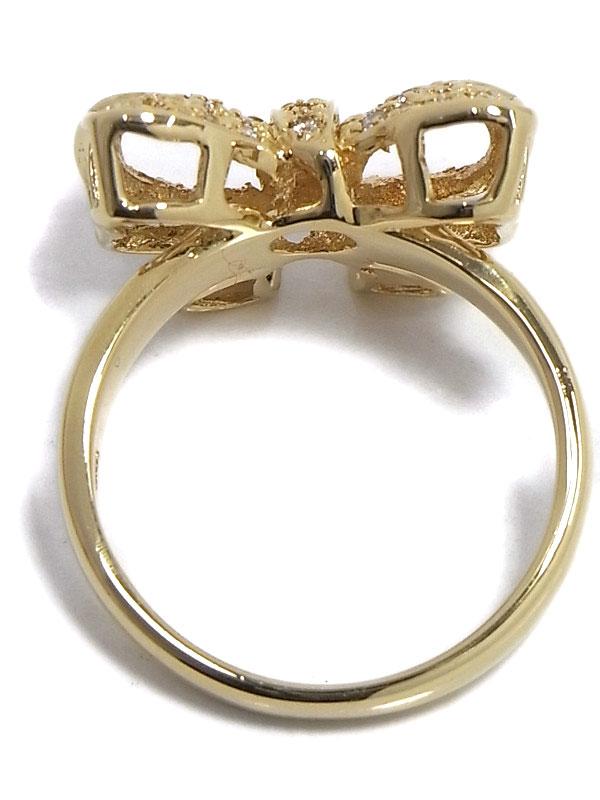 【仕上済】セレクトジュエリー『K18YGリング ダイヤモンド0.35ct リボンモチーフ』11.5号 1週間保証【中古】