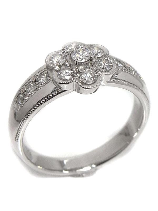 セレクトジュエリー『K18WGリング ダイヤモンド0.60ct フラワーモチーフ』17号 1週間保証【中古】