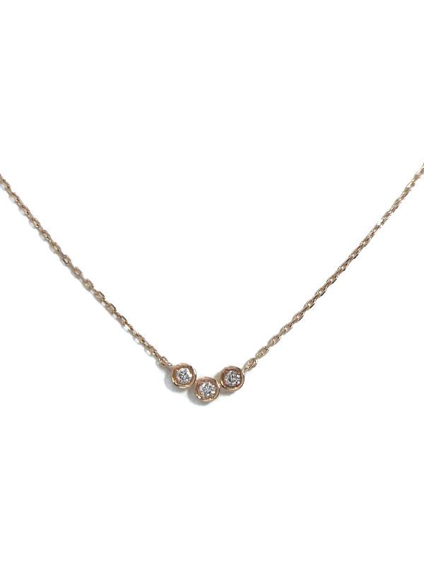 セレクトジュエリー『K10PGネックレス 3Pダイヤモンド』1週間保証【中古】