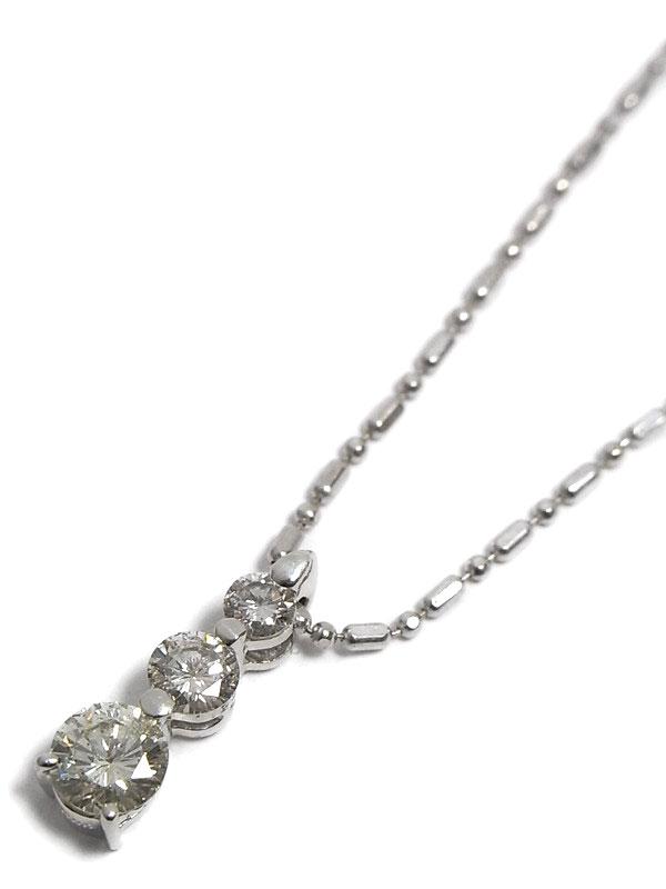 セレクトジュエリー『K18WGネックレス ダイヤモンド0.21ct 0.305ct』1週間保証【中古】