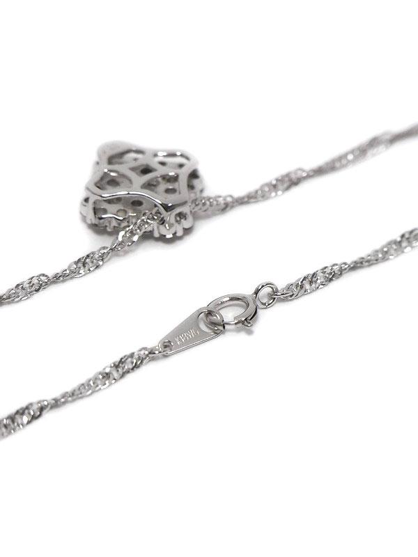 セレクトジュエリー『K18WGネックレス ダイヤモンド フラワーモチーフ』1週間保証【中古】