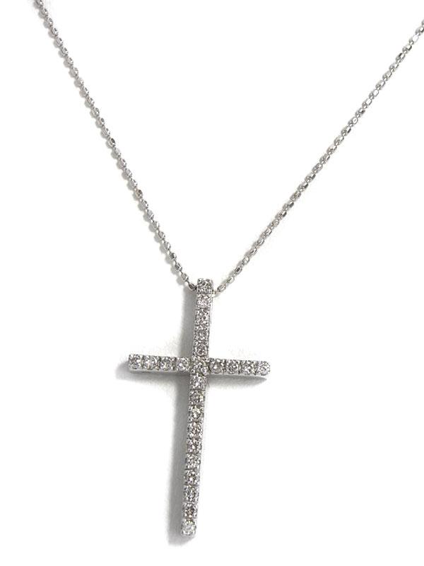 セレクトジュエリー『K18WGネックレス ダイヤモンド0.30ct クロスモチーフ』1週間保証【中古】