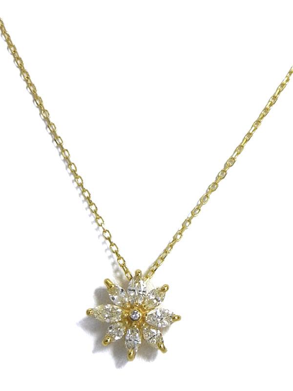 セレクトジュエリー『K18YGネックレス ダイヤモンド0.50ct フラワーモチーフ』1週間保証【中古】