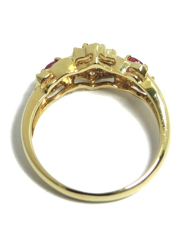 セレクトジュエリー『K18YGリング ルビー ダイヤモンド』11号 1週間保証【中古】