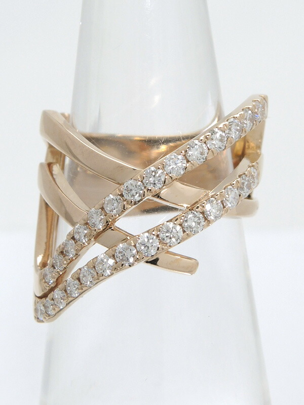 セレクトジュエリー『K18PGリング ダイヤモンド0.78ct』12号 1週間保証【中古】