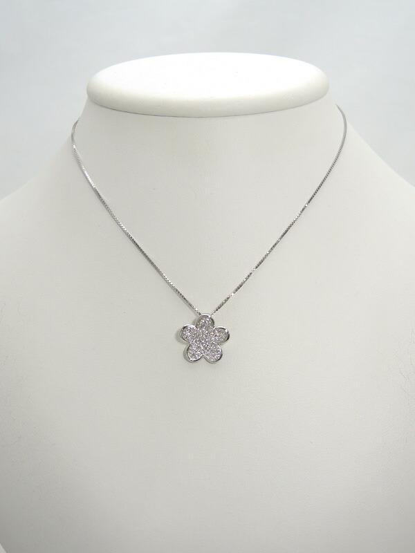 セレクトジュエリー『K18WGネックレス ダイヤモンド0.50ct フラワーモチーフ』1週間保証【中古】