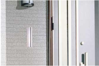 ステンレスポスト壁貫通内フタ付き縦型取り付けイメージ