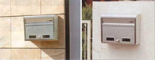郵便受け箱(ステンレスポスト)壁面外掛け取り付けタイプ