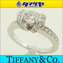 TIFFANY&Co Tiffany diamond (0.45ct E-VV2-EX) ribbon ring Pt950 platinum Japan size approximately 7.5 #47.5 Lady's 25001208