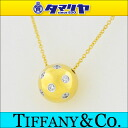 750 TIFFANY&Co Tiffany 6P diamond Dodds ball necklace K18 YG yellow gold Pt950 platinum Lady's 25891105