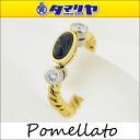750 Pomellato ポメラートダイヤカラーストーンツイストリングサファイヤ K18 YG yellow gold Japan size approximately 14 ring 25791010