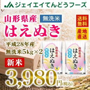 28年産 山形県産はえぬき無洗米10kg(5kg×2) 送料無料※一部地域は別途送料追加