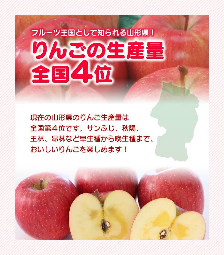 りんごの生産量全国4位   現在の山形県のりんご生産量は全国第4位です。サンふじ、秋陽、王林、昂林など早生種から晩生種まで、おいしいりんごを楽しめます!