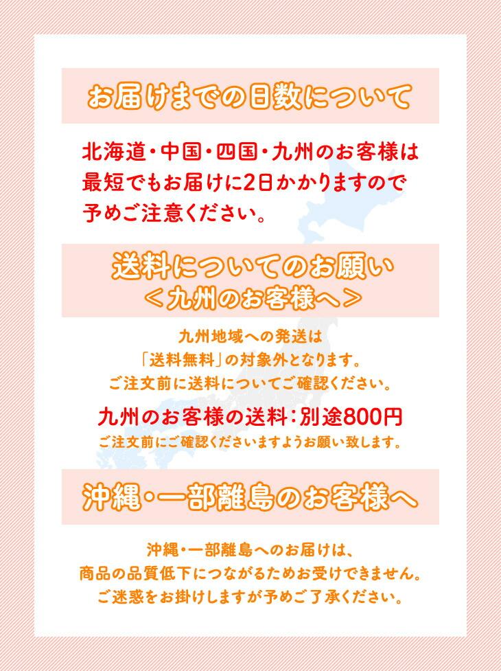 お届けまでの日数について | 送料についてのお願い<九州のお客様へ> | 沖縄・一部離島のお客様へ