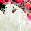 Rose quartz X aquamarine X crystal 8mm bracelet nature stone / power stone fs3gm