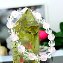 October stone amulet for an easy delivery ♪ love ☆ rose quartz X crystal 8mm bracelet nature stone / power stone fs3gm